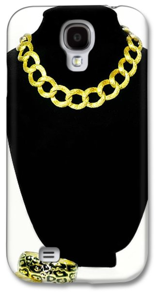Gold Necklace Galaxy S4 Cases - Circles Galaxy S4 Case by Diana Angstadt