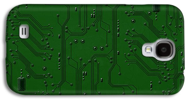 Abstract Digital Pyrography Galaxy S4 Cases - Circuit Board Galaxy S4 Case by Bedros Awak