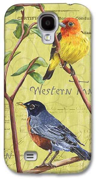 Design Paintings Galaxy S4 Cases - Citron Songbirds 2 Galaxy S4 Case by Debbie DeWitt