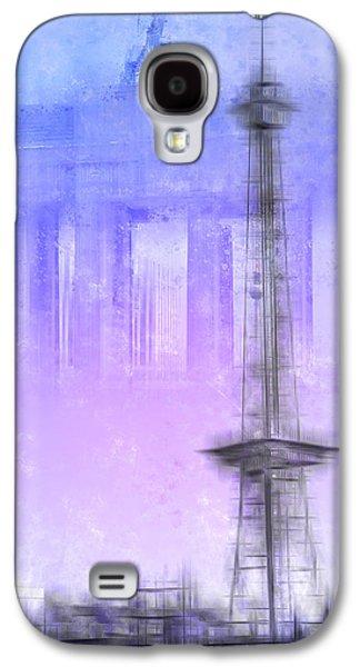Abstract Sights Digital Galaxy S4 Cases - City-Art BERLIN Radio Tower and Brandenburg Gate blue/pink Galaxy S4 Case by Melanie Viola