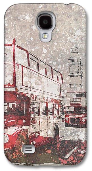 Cities Digital Galaxy S4 Cases - City-Art LONDON Red Buses II Galaxy S4 Case by Melanie Viola