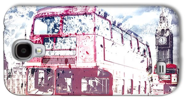 Decorative Photographs Galaxy S4 Cases - City-Art LONDON Red Buses on Westminster Bridge Galaxy S4 Case by Melanie Viola