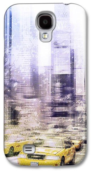 Abstract Digital Digital Art Galaxy S4 Cases - City-Art TIMES SQUARE I Galaxy S4 Case by Melanie Viola