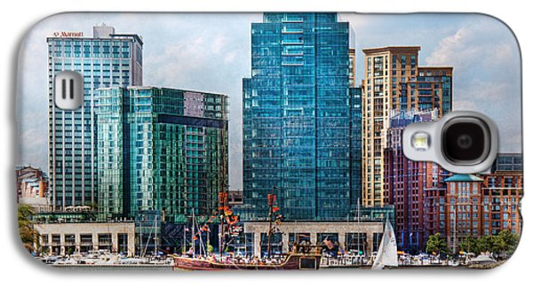 Tall Ship Galaxy S4 Cases - City - Baltimore MD - Harbor east  Galaxy S4 Case by Mike Savad