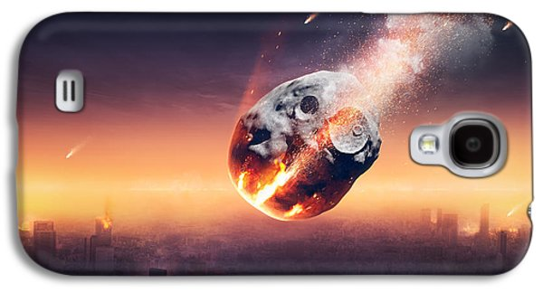 Smoke Digital Galaxy S4 Cases - City destroyed by meteor shower Galaxy S4 Case by Johan Swanepoel