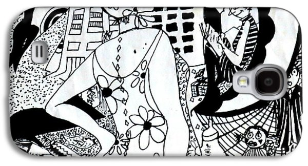 Joyful Drawings Galaxy S4 Cases - City Livin Mamma - Within Border Galaxy S4 Case by Leanne Seymour