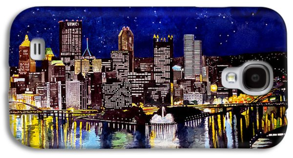 Liberty Paintings Galaxy S4 Cases - City of Pittsburgh at the Point Galaxy S4 Case by Christopher Shellhammer