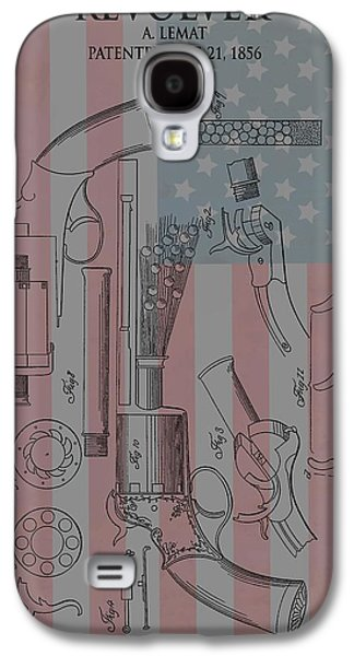 Stars And Stripes Mixed Media Galaxy S4 Cases - Civil War Revolver American Flag Galaxy S4 Case by Dan Sproul