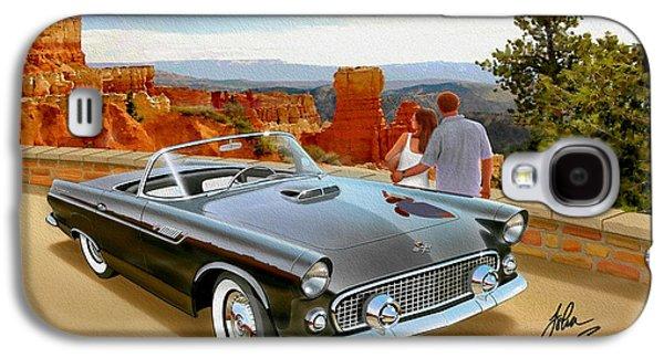 Classic 1955 Thunderbird At Bryce Canyon Black  Galaxy S4 Case by John Samsen