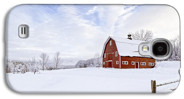 New England Barns Galaxy S4 Cases - Classic New England Red Barn in winter Galaxy S4 Case by Edward Fielding