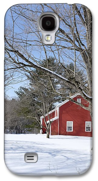 New England Barns Galaxy S4 Cases - Classic Vermont red house in winter Galaxy S4 Case by Edward Fielding