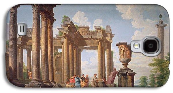 Ruin Galaxy S4 Cases - Classical Scene Galaxy S4 Case by Giovanni Paolo Pannini or Panini