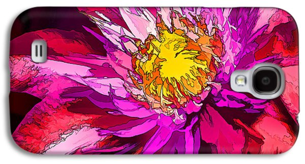 Photo Manipulation Galaxy S4 Cases - Clematis Flower in Scarlet Galaxy S4 Case by Bill Caldwell -        ABeautifulSky Photography