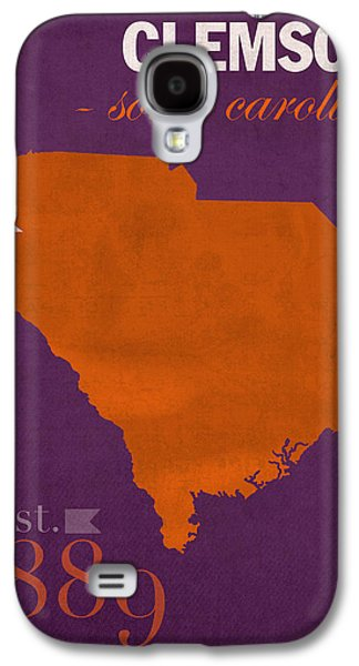 Universities Mixed Media Galaxy S4 Cases - Clemson University Tigers College Town South Carolina State Map Poster Series No 030 Galaxy S4 Case by Design Turnpike