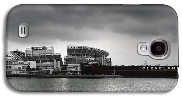 Docked Boat Galaxy S4 Cases - Cleveland Browns Stadium From The Inner Harbor Galaxy S4 Case by Kenneth Krolikowski