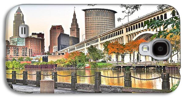 Veterans Stadium Galaxy S4 Cases - Cleveland Ohio Alongside the Cuyahoga Galaxy S4 Case by Frozen in Time Fine Art Photography