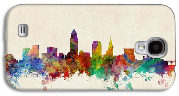 Cityscape Digital Galaxy S4 Cases - Cleveland Ohio Skyline Galaxy S4 Case by Michael Tompsett