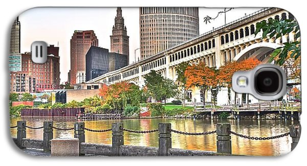 Veterans Stadium Galaxy S4 Cases - Cleveland Panorama Over The Cuyahoga Galaxy S4 Case by Frozen in Time Fine Art Photography