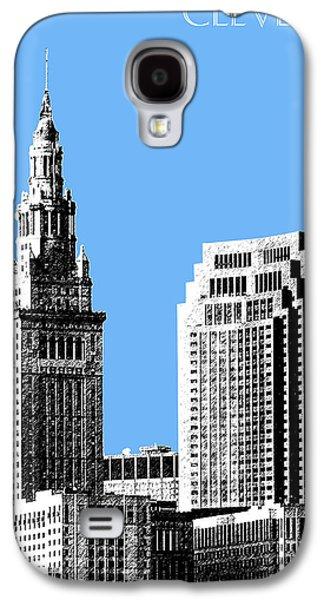 Office Decor Digital Galaxy S4 Cases - Cleveland Skyline 1 - Light Blue Galaxy S4 Case by DB Artist