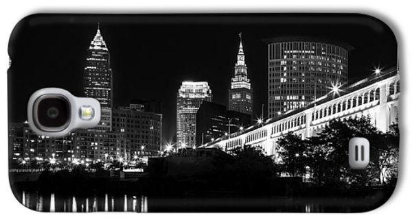 Light Photographs Galaxy S4 Cases - Cleveland Skyline Galaxy S4 Case by Dale Kincaid