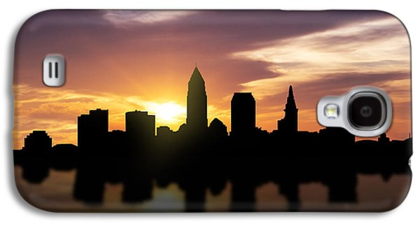 Light Mixed Media Galaxy S4 Cases - Cleveland Sunset Skyline  Galaxy S4 Case by Aged Pixel