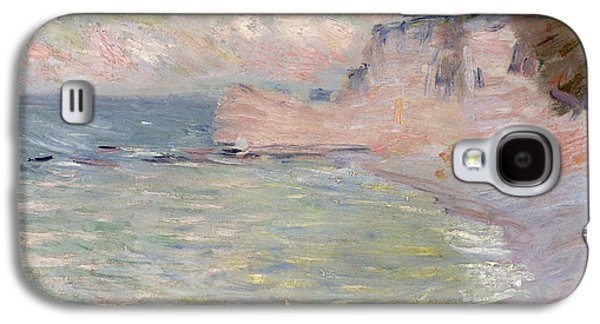 Beach Landscape Galaxy S4 Cases - Cliffs And The Porte Damont, Morning Effect, 1885 Oil On Canvas Galaxy S4 Case by Claude Monet
