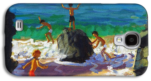 Climbing Galaxy S4 Cases - Climbing rocks Porthmeor beach St Ives Galaxy S4 Case by Andrew Macara