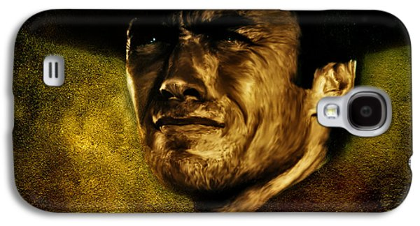Character Portraits Mixed Media Galaxy S4 Cases - Clint Eastwood digital oil portrait Galaxy S4 Case by Marian Voicu