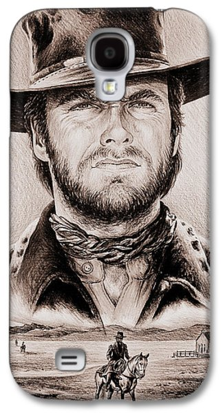Sisters Drawings Galaxy S4 Cases - Clint Eastwood The Stranger ye old west edit Galaxy S4 Case by Andrew Read
