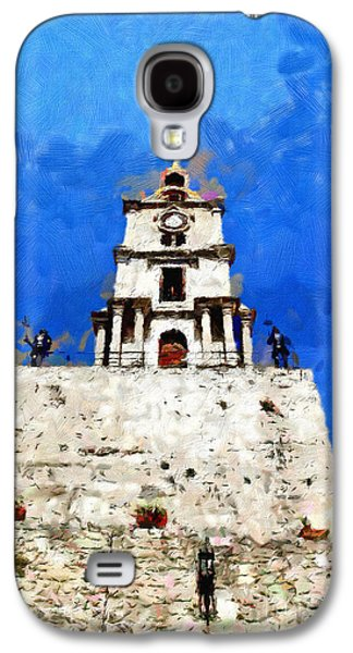 Knights Castle Paintings Galaxy S4 Cases - Clocktower with guarding knights painting Galaxy S4 Case by Magomed Magomedagaev