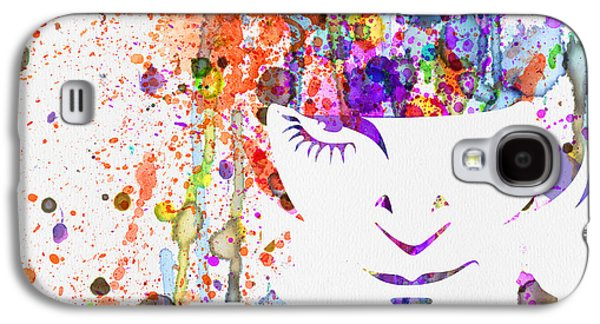 Orange Mixed Media Galaxy S4 Cases - Clockwork Orange Watercolor Galaxy S4 Case by Naxart Studio