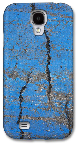 Old Roadway Galaxy S4 Cases - Close Up Of Cracks On A Blue Painted Galaxy S4 Case by Perry Mastrovito