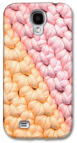Colorful Abstract Tapestries - Textiles Galaxy S4 Cases - Closeup crochet rag rug Galaxy S4 Case by Kerstin Ivarsson