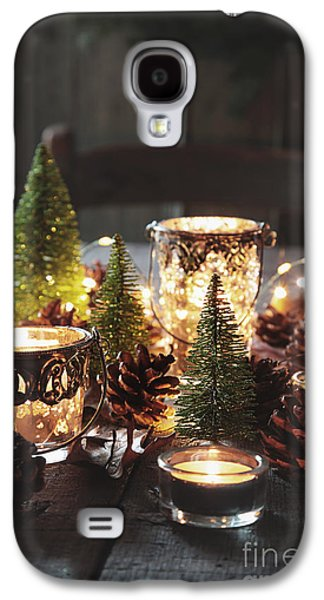 Pine Cones Photographs Galaxy S4 Cases - Closeup of candles and decorations for the holidays Galaxy S4 Case by Sandra Cunningham