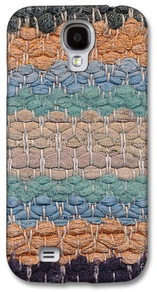 Blue Abstracts Tapestries - Textiles Galaxy S4 Cases - Closeup of old rag rug Galaxy S4 Case by Kerstin Ivarsson