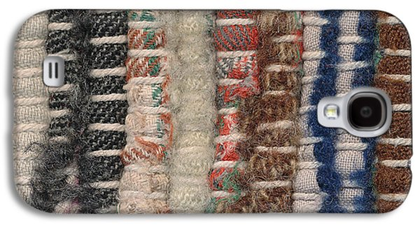 Blue Abstracts Tapestries - Textiles Galaxy S4 Cases - Closeup old woven rag rug Galaxy S4 Case by Kerstin Ivarsson