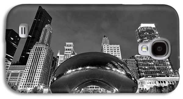Black And White Galaxy S4 Cases - Cloud Gate and Skyline Galaxy S4 Case by Adam Romanowicz