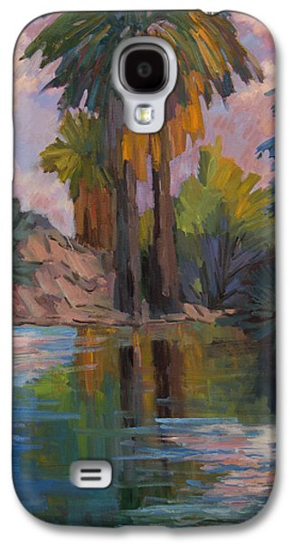 Clouds Paintings Galaxy S4 Cases - Clouds and Palm Trees Galaxy S4 Case by Diane McClary