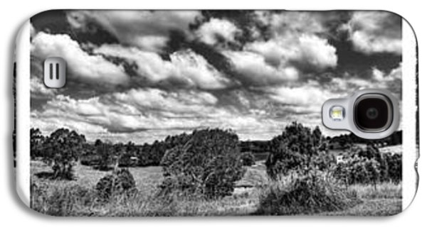 Old Fence Posts Galaxy S4 Cases - Cloudy Countryside Collage - Black and White Galaxy S4 Case by Kaye Menner
