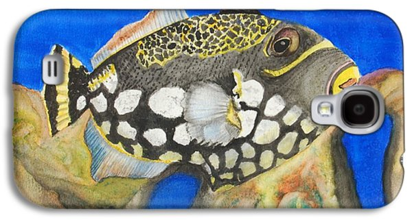 Triggerfish Paintings Galaxy S4 Cases - Clown Triggerfish Galaxy S4 Case by Linda Brody