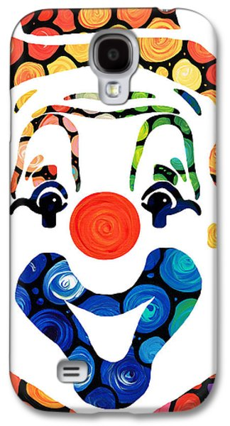 Smiling Mixed Media Galaxy S4 Cases - Clownin Around - Funny Circus Clown Art Galaxy S4 Case by Sharon Cummings