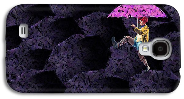 Umbrellas Digital Galaxy S4 Cases - Clowning on Umbrellas 02 - a08-Purple Galaxy S4 Case by Variance Collections