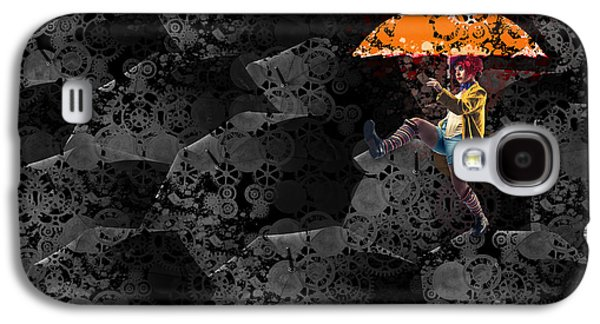 Mechanism Digital Art Galaxy S4 Cases - Clowning on Umbrellas 02 -a10a Galaxy S4 Case by Variance Collections