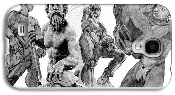 Statue Portrait Drawings Galaxy S4 Cases - Club Olympus Galaxy S4 Case by Greta Corens