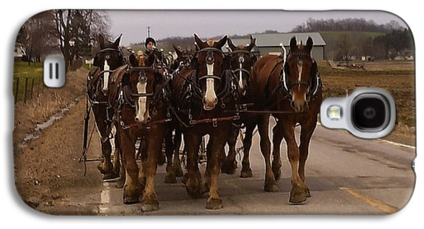 Horse Images Galaxy S4 Cases - Clydesdale Amish plow team Galaxy S4 Case by Chris Flees
