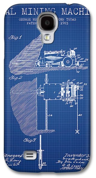 Machinery Galaxy S4 Cases - Coal Mining Machine Patent From 1903- Blueprint Galaxy S4 Case by Aged Pixel