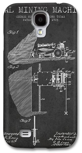 Machinery Galaxy S4 Cases - Coal Mining Machine Patent From 1903- Charcoal Galaxy S4 Case by Aged Pixel