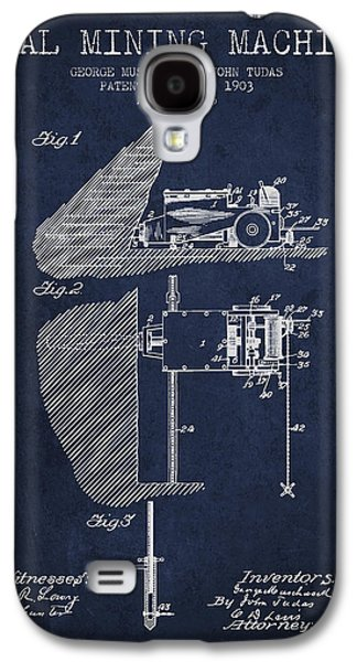 Machinery Galaxy S4 Cases - Coal Mining Machine Patent From 1903- Navy Blue Galaxy S4 Case by Aged Pixel