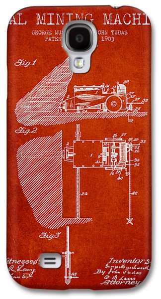 Machinery Galaxy S4 Cases - Coal Mining Machine Patent From 1903- Red Galaxy S4 Case by Aged Pixel
