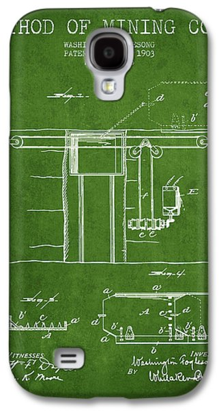 Machinery Galaxy S4 Cases - Coal Mining Patent From 1903- Green Galaxy S4 Case by Aged Pixel